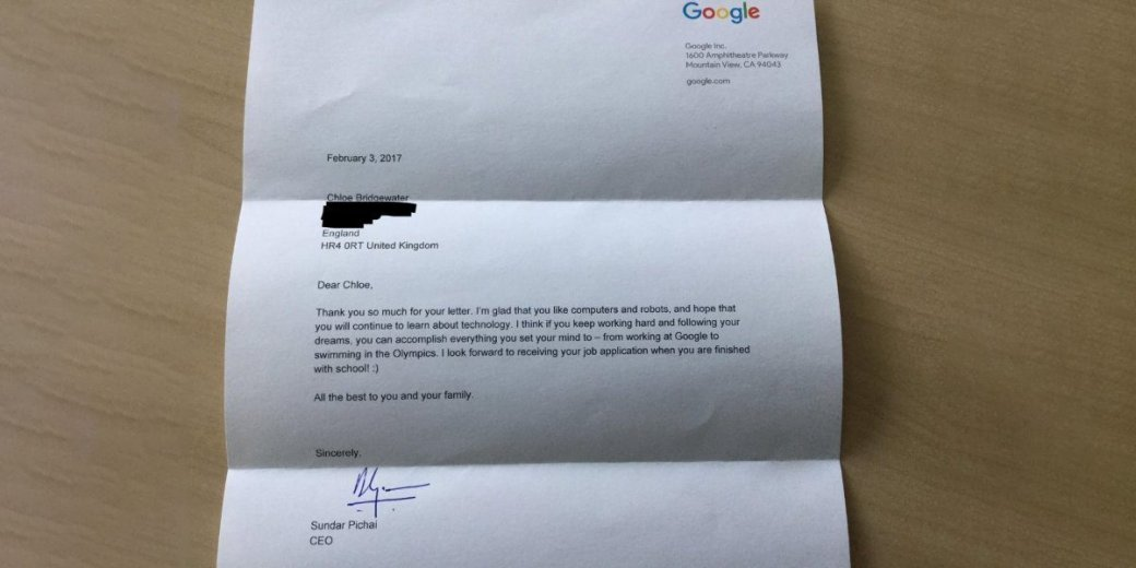 CEO Google ответил на просьбу 7-летней девочки взять ее на работу | Канобу - Изображение 4428
