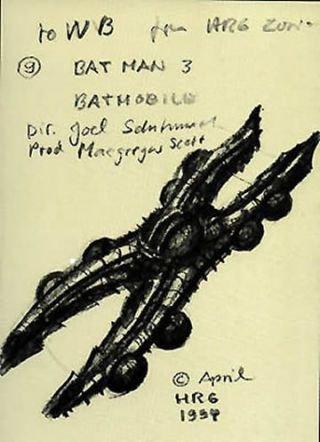 Создателя Чужого как-то попросили нарисовать Бэтмобиль для «Бэтмен: Навсегда». Вышло жутко | Канобу - Изображение 0
