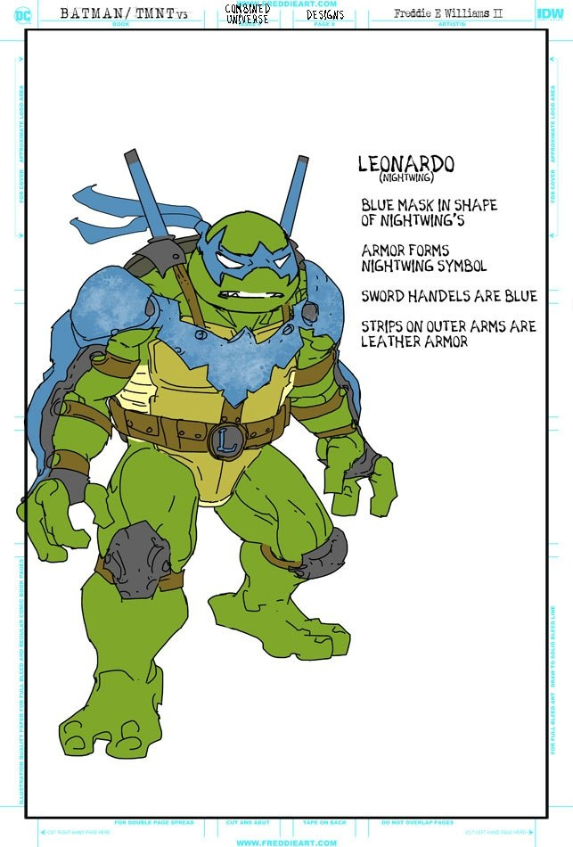 Втретьем кроссовере Черепашек-ниндзя иБэтмена появятся гибриды героев. Например, Найтвинг-Леонардо   Канобу - Изображение 7262